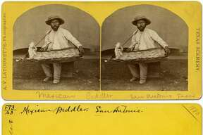 1/35-32 Peddler, San Antonio, 1880  Street vendors were a common sight in San Antonio in the late 19th century. Some would sell their wares while riding atop donkeys, goats or sheep. Others, like the candy peddler in this image, would carry their products on their person and walk slowly through the neighborhoods trying to make a sale on their daily rounds. Alexis V. Latourette was a talented photographer who worked in parts of Texas and northern Mexico in the 1870s and 1880s.  Source: Texas State Library and Archives Commission https://www.tsl.texas.gov/photo-exhibit.html