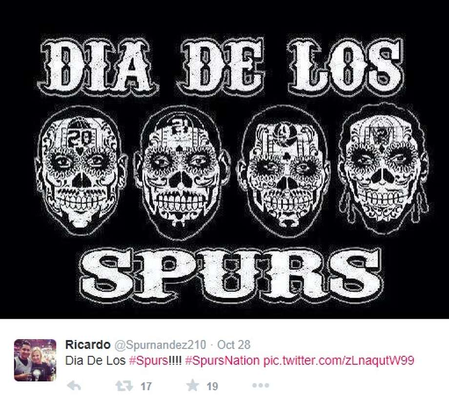 A Twitter screenshot shows the graphic similar to the graphic on a T-shirt that one Ebay user is selling. The graphic represents Spurs stars Manu Ginobili, Tim Duncan, Tony Parker and Kawhi Leonard as sugar skulls for a Dia de los Muertos theme. Photo: Twitter Screenshots