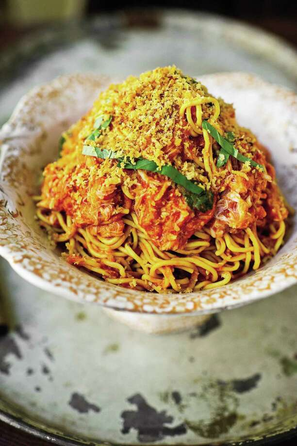 "Spaghetti with Crab Fra Diavolo and Toasted Bread Crumbs from ""Harold Dieterle's Kitchen Notebook"" by Harld Dieterle (Grand Central Publishing). Photo: Grand Central Publishing / Grand Central Publishing"
