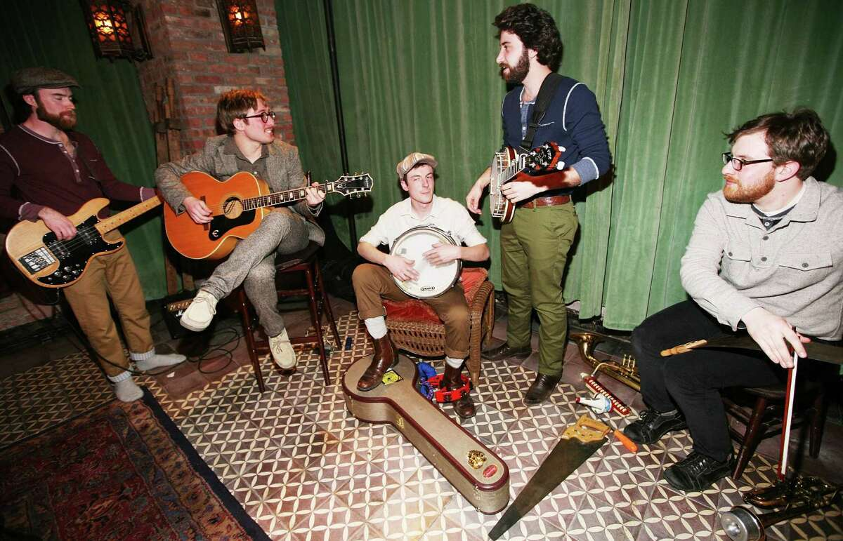 Members of the band Frontier Ruckus perform at the Riviera Club Fall 2011 presentation during Mercedes-Benz Fashion Week at The Bowery Hotel on February 11, 2011 in New York City.