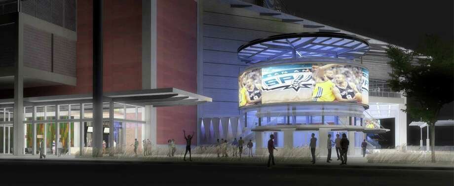 Rendering of the AT&T Center SE entrance and wraparound LED ticket tower. The SE entrance will be adjacent to a larger, relocated Fan Shop and an expanded Whataburger concession, which will be open on non-event days. Photo: Spurs Sports & Entertainment, Courtesy