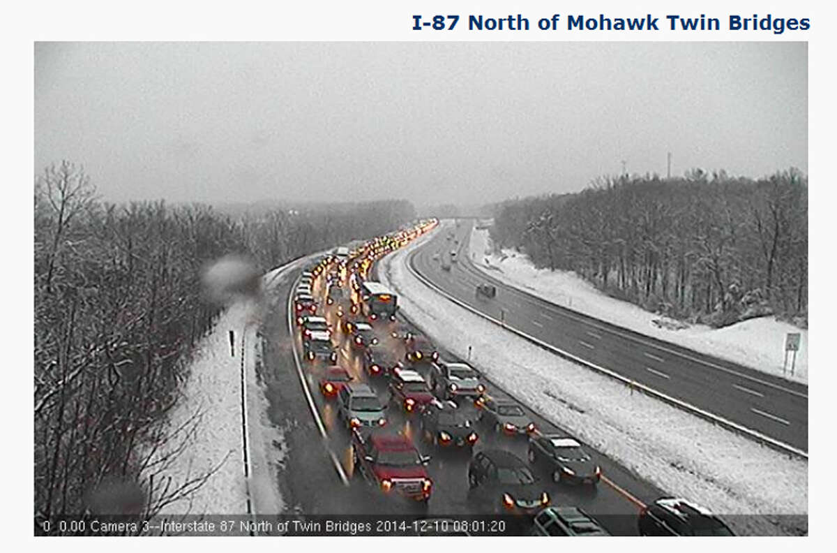 Traffic backed up on the Northway southboard heading toward the twin bridges on Wednesday, Dec. 10, 2014. A tractor trailer fire is causing the delays.