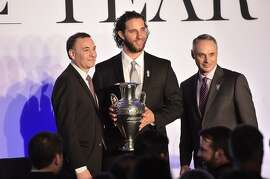 Paul Fichtenbaum, Madison Bumgarner and Rob Manfred attend the Sportsman Of The Year 2014 Ceremony.
