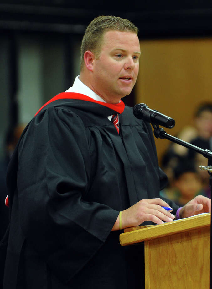 Derby High Principal Greg Gaillard, during Derby High School's Class of 2012 Commencement Ceremony in Derby, Conn. on Tuesday June 12, 2012. Photo: Christian Abraham / Connecticut Post