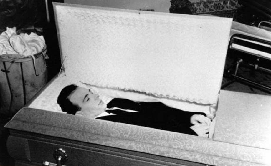 Photos of the original casket Lee Harvey Oswald was buried in for his 1963 funeral. Photo: Photo Courtesy Of Nate Dd. Sanders Memorabilia