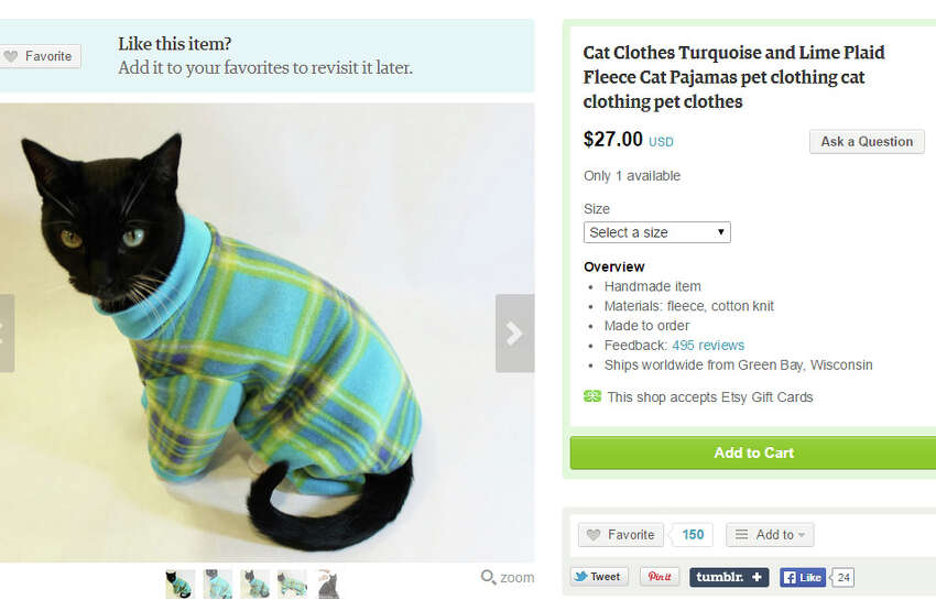 Keep your favorite kitty cozy in turquoise and limefleece pajamasby RockinDogsCoolCats ($27).