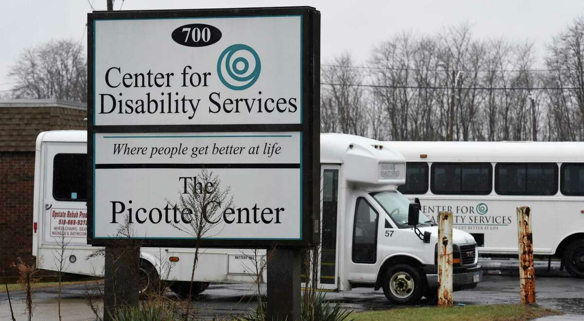 Vans sit outside of the Center for Disability Services at 700 S. Pearl Street Tuesday morning Dec. 9, 2014 in Albany, N.Y. (Skip Dickstein/Times Union)