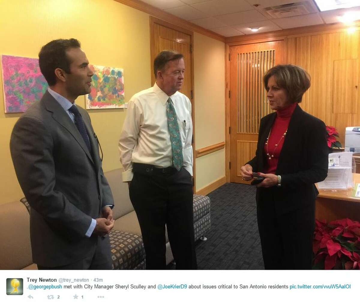 Land Commissioner-elect George P. Bush meets with City Manager Sheryl Sculley and District 9 Councilman Joe Krier on Dec. 10, 2014.