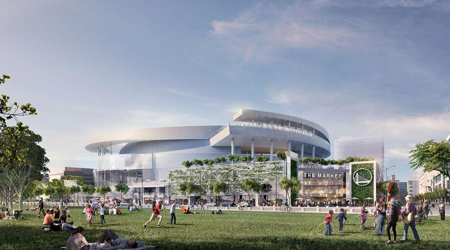 Rendering released on Dec. 10, 2014 showing the Golden State Warriors' proposed new arena in San Francisco's Mission Bay area as it would appear from a bay-front park to be built. The arena would seat 18,000 people, have a view deck, and include a 24,000 square foot public plaza on the southeast side and a 35,000 square foot public plaza on the Third Street side. Completion is slated for the start of the 2018-19 NBA season. Photo: Images Rendered By Steelblue., Courtesy Of MANICA Architecture.
