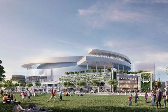 Rendering released on Dec. 10, 2014 showing the Golden State Warriors' proposed new arena in San Francisco's Mission Bay area as it would appear from a bay-front park to be built. The arena would seat 18,000 people, have a view deck, and include a 24,000 square foot public plaza on the southeast side and a 35,000 square foot public plaza on the Third Street side. Completion is slated for the start of the 2018-19 NBA season.