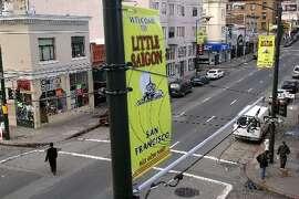 Little Saigon banner on Larkin Street