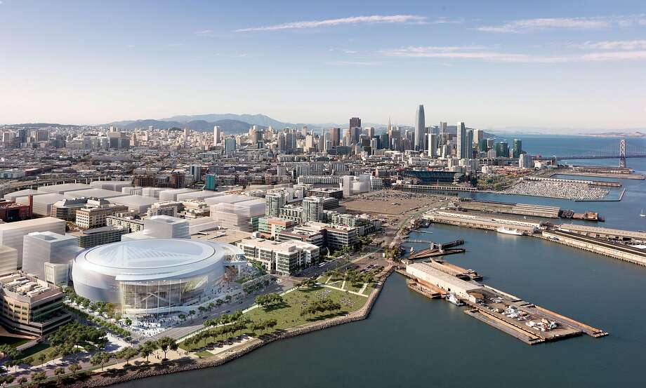 Rendering released on Dec. 10, 2014 showing a southwest aerial view of the Golden State Warriors' proposed new arena in San Francisco's Mission Bay area. The arena would seat 18,000 people, have a view deck, and include a 24,000 square foot public plaza on the southeast side and a 35,000 square foot public plaza on the Third Street side. Completion is slated for the start of the 2018-19 NBA season. Photo: Images Rendered By Steelblue., Courtesy Of MANICA Architecture.