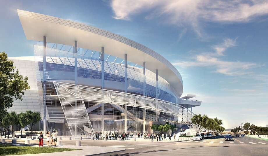 Rendering released on Dec. 10, 2014 showing the southeast entrance of the Golden State Warriors' proposed new arena in San Francisco's Mission Bay area. Photo: Images Rendered By Steelblue., Courtesy Of MANICA Architecture.