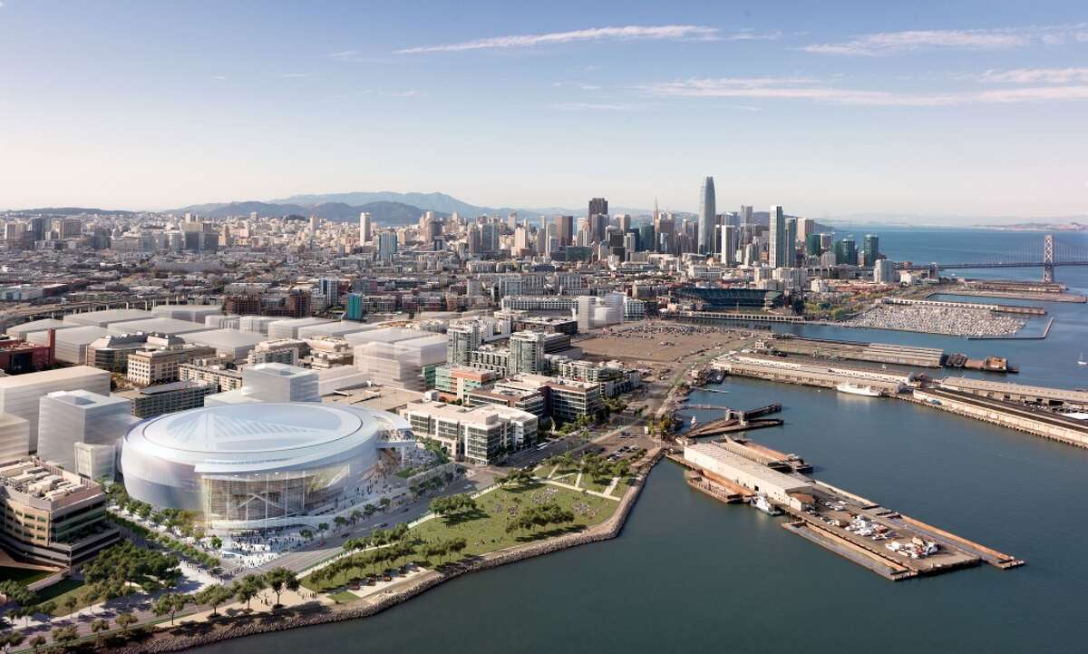 Rendering released on Dec. 10, 2014 show the Golden State Warriors' proposed new arena in San Francisco's Mission Bay area. The arena would seat 18,000 people, have a view deck, and include a 24,000-square foot public plaza on the southeast side and a 35,000-square foot public plaza on the Third Street side. Completion is slated for the start of the 2018-19 NBA season. (Images Courtesy of MANICA Architecture. Images rendered by steelblue.)