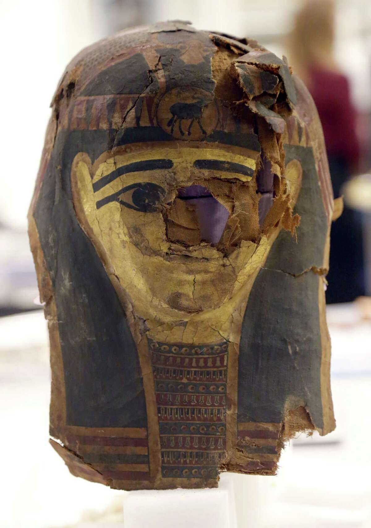 The burial mask of Minirdis, a 14-year-old Egyptian boy who was the son of a priest, is positioned for conservation work Wednesday, Dec. 10, 2014, in Chicago. JP Brown, Regenstein Conservator at the Field museum and his team have opened the coffin Minirdis, the 2,500-year-old mummy to perform conservation work before it becomes part of a traveling exhibition.