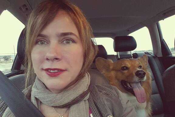 Driving in Houston with my Corgi, Rusty.
