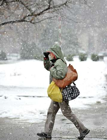 Michelle Mulligan of Colonie walks past Academy Park during Wednesday's snow storm Dec. 10, 2014, in Albany, NY.  (John Carl D'Annibale / Times Union) Photo: John Carl D'Annibale / 00029805A