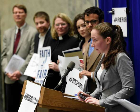 Aileen Sheil, chairperson, of the New York Public Interest Research Group's Board of Directors and a Queens College Student joined others during a press conference in the well of the Legislative Office Building Dec. 10, 2014 in Albany, N.Y.,  in calling on Governor Cuomo to modernize the Tuition Assistance Program and include the of the NY Dream Act in the renovation of TAP. (Skip Dickstein/Times Union) Photo: SKIP DICKSTEIN / 00029801A