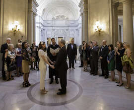 Marshall Lamm and Allison Blomerth wed at City Hall on Nov. 7 and had their reception at Foreign Cinema's gallery space in S.F.