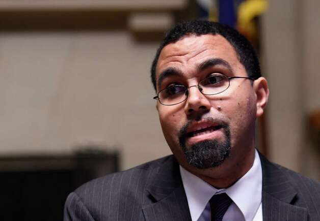 Education Commissioner John B. King announces new options for students to meet the State's high school graduation requirements Monday afternoon, Oct. 20, 2014, during a press conference held at the Department of Education in Albany, N.Y. (Skip Dickstein/Times Union) Photo: SKIP DICKSTEIN / 00029097A