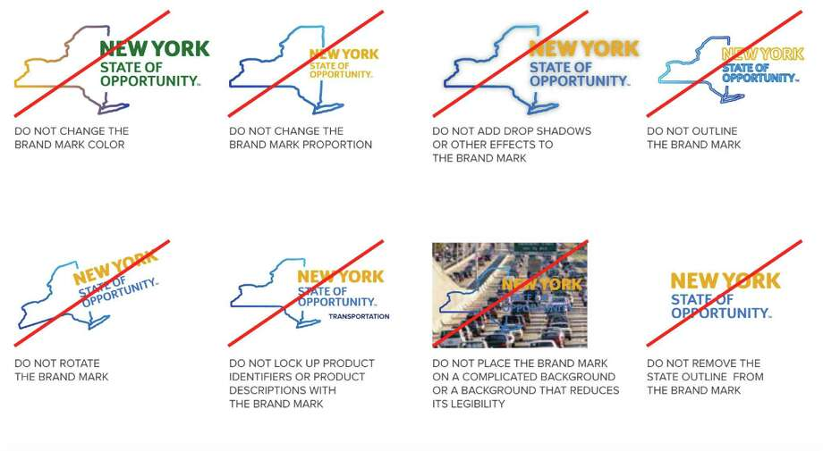 Examples of not to manipulate the New York State of Opportunity logo.