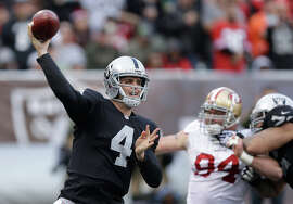 Derek Carr was sacked only once Sunday; Oakland is fifth in the NFL in fewest sacks allowed.