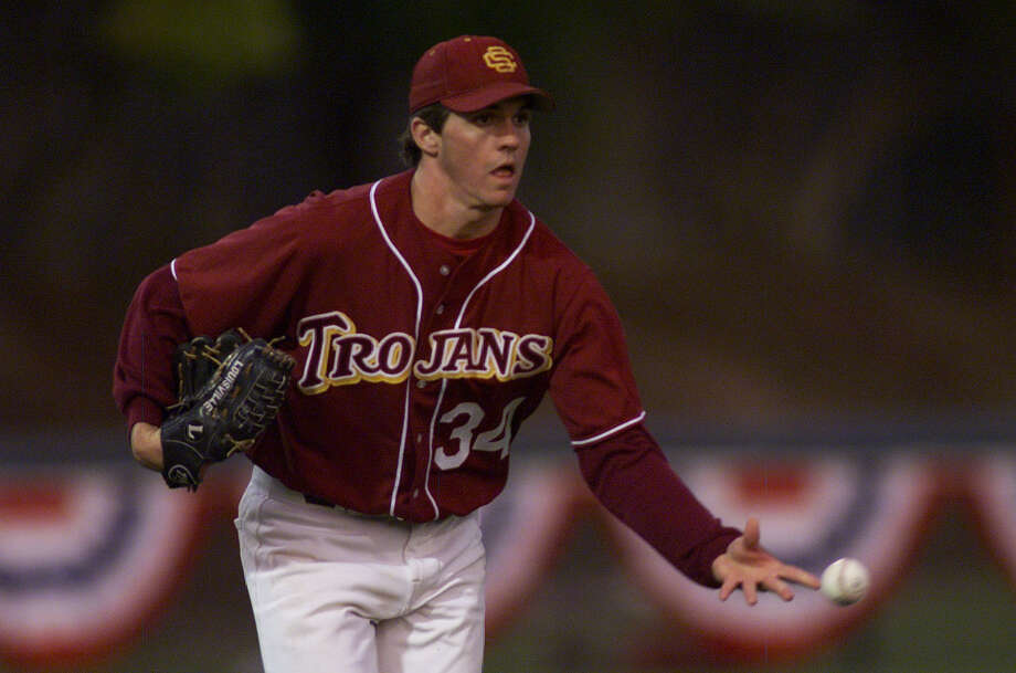1999 — Young Barry Zito pitches for the USC Trojans against Stanford. He was drafted ninth overall in 1999 by the Oakland A's. Photo: MICHAEL MACOR, SFC / CHRONICLE
