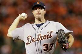 Detroit Tigers starting pitcher Max Scherzer (37) throws in the fourth inning against the Baltimore Orioles during Game 1 of baseball's AL Division Series in Baltimore, Thursday, Oct. 2, 2014. (AP Photo/Patrick Semansky)