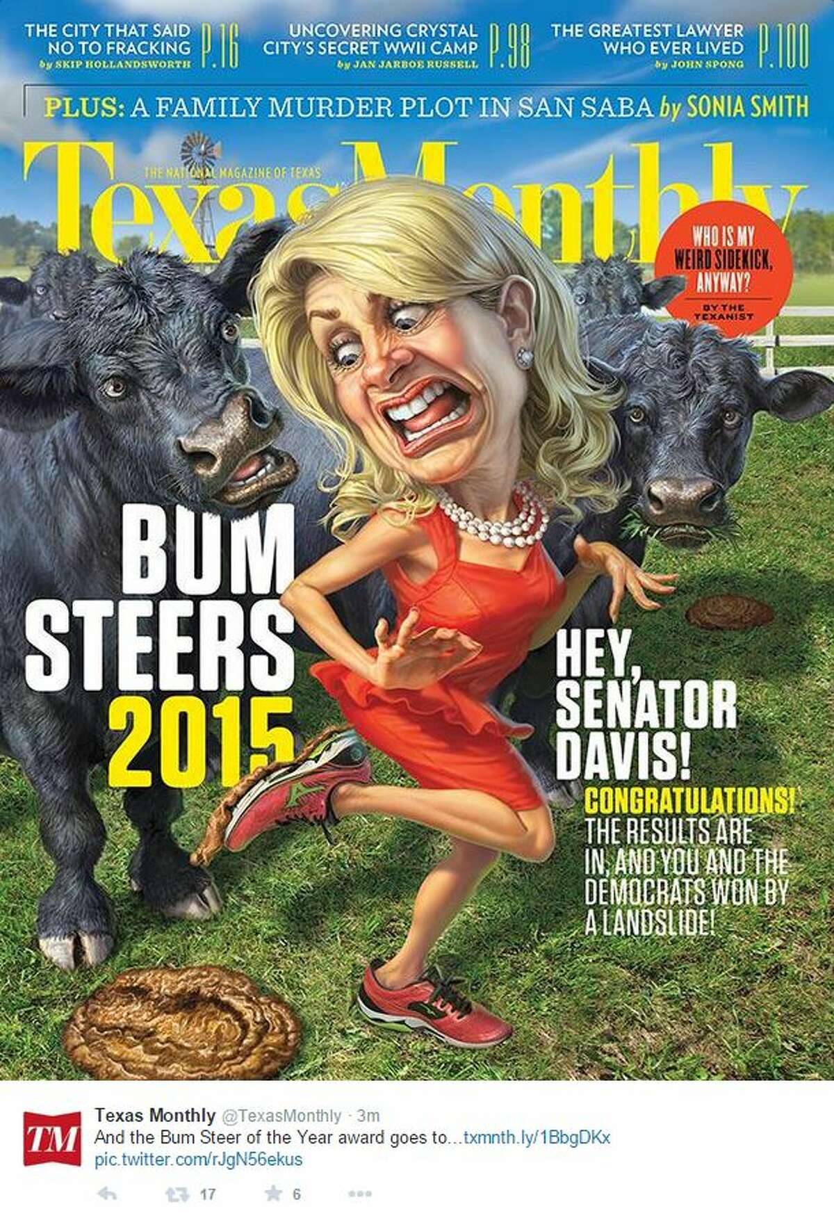 """Wendy Davis, who lost the Nov. 4 gubernatorial election to Republican Greg Abbott, has won Texas Monthly magazine's coveted """"Bum Steer of the Year"""" award for her """"train wreck"""" of a campaign."""