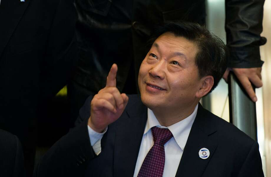 Lu Wei, China's Minister of Cyberspace Affairs Administration, gestures after giving a speech at the opening ceremony of the World Internet Conference in Wuzhen, in eastern China's Zhejiang province on November 19, 2014.  China, which censors online content it deems to be politically sensitive, opened the World Internet Conference in Wuzhen with the country's biggest Internet companies in attendance alongside a sprinkling of foreign executives and officials.    AFP PHOTO / JOHANNES EISELE                    [IN_PRODUCTION] [Verrouillé] 12:57-19/11/2014 Wuzhen SHA ECO,POLJOHANNES EISELE/AFP/Getty Images Photo: Johannes Eisele, AFP/Getty Images