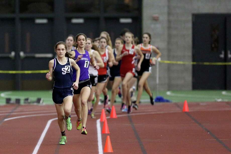 Staples High School's Hannah DeBalsi during the FCIAC championships last season. Now a junior, DeBalsi will attempt to lead the Wreckers to their first indoor title since 1987. Photo: Mike Ross / Mike Ross Connecticut Post freelance -www.mikerossphoto.com