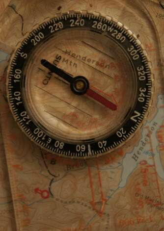 Photo by Herb Terns. Red Fred in his shed. A compass is an invaluable piece of equipment in the woods. Photo: Picasa