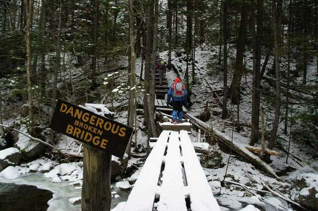 Photo by Herb Terns. The bridge was not the most dangerous thing we did. On the trail to Bradley Pond. Photo: Picasa