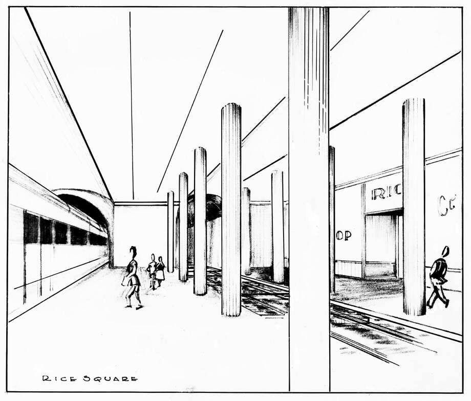 Sketch of a subway system for Houston, Feb. 27, 1949. Prepared by architect Garrison King. Photo: Robert D. Stamm And Co. / Houston Chronicle