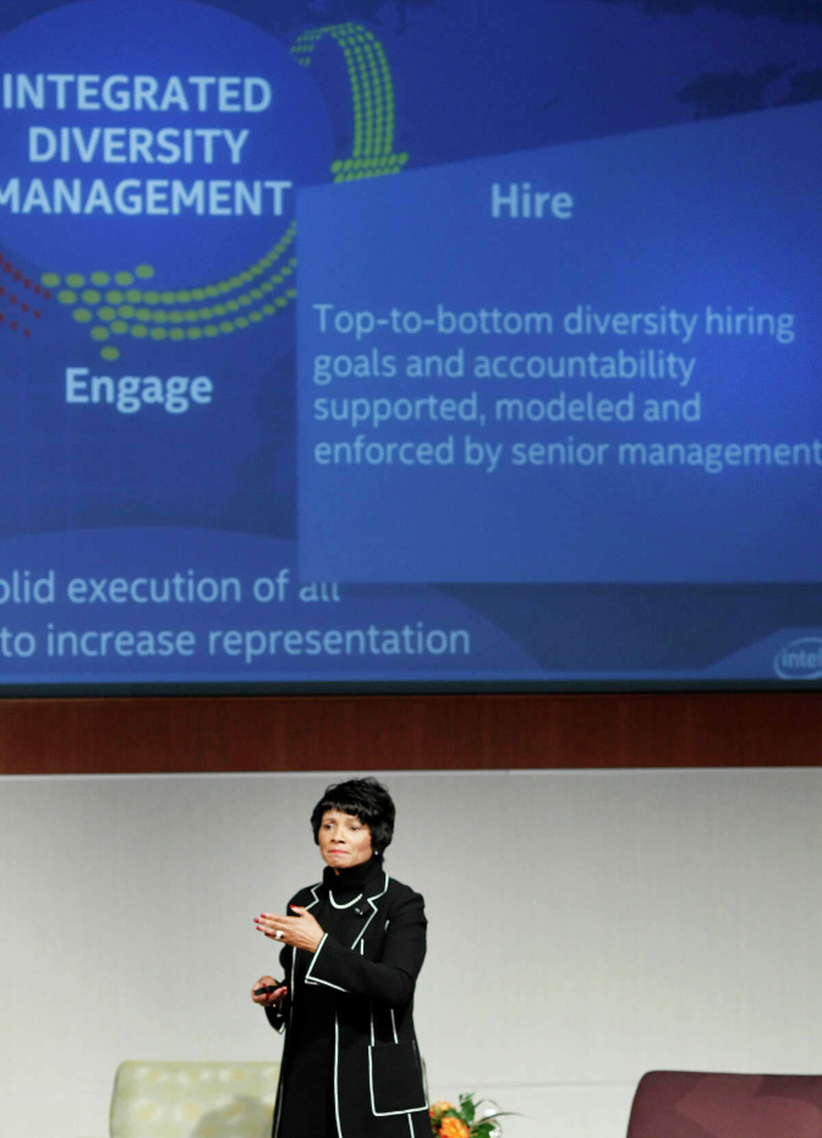 Rosalind Hudnell of Intel spoke about the progress in diversity at her company.