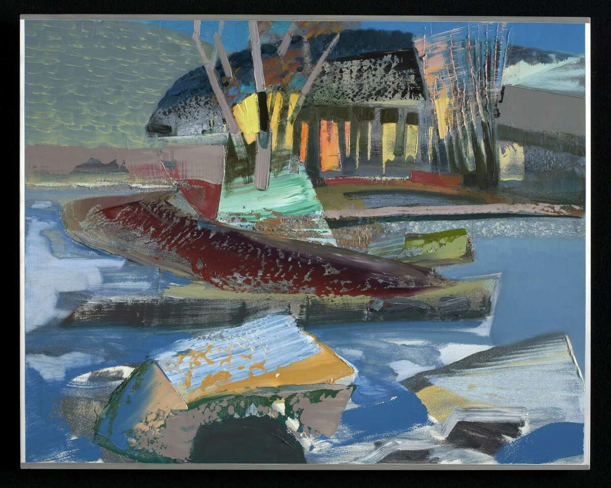 (Courtesy The Opalka Gallery at the Sage College of Albany) December 29, 2008: Stream, Hoosick, NY, 30°F, 2008 oil on aluminum panel, 24 x 30 inches as part of the exhibit?Meander, because you can?t see much while marching by Mike Glier, A 35-Year Survey.?