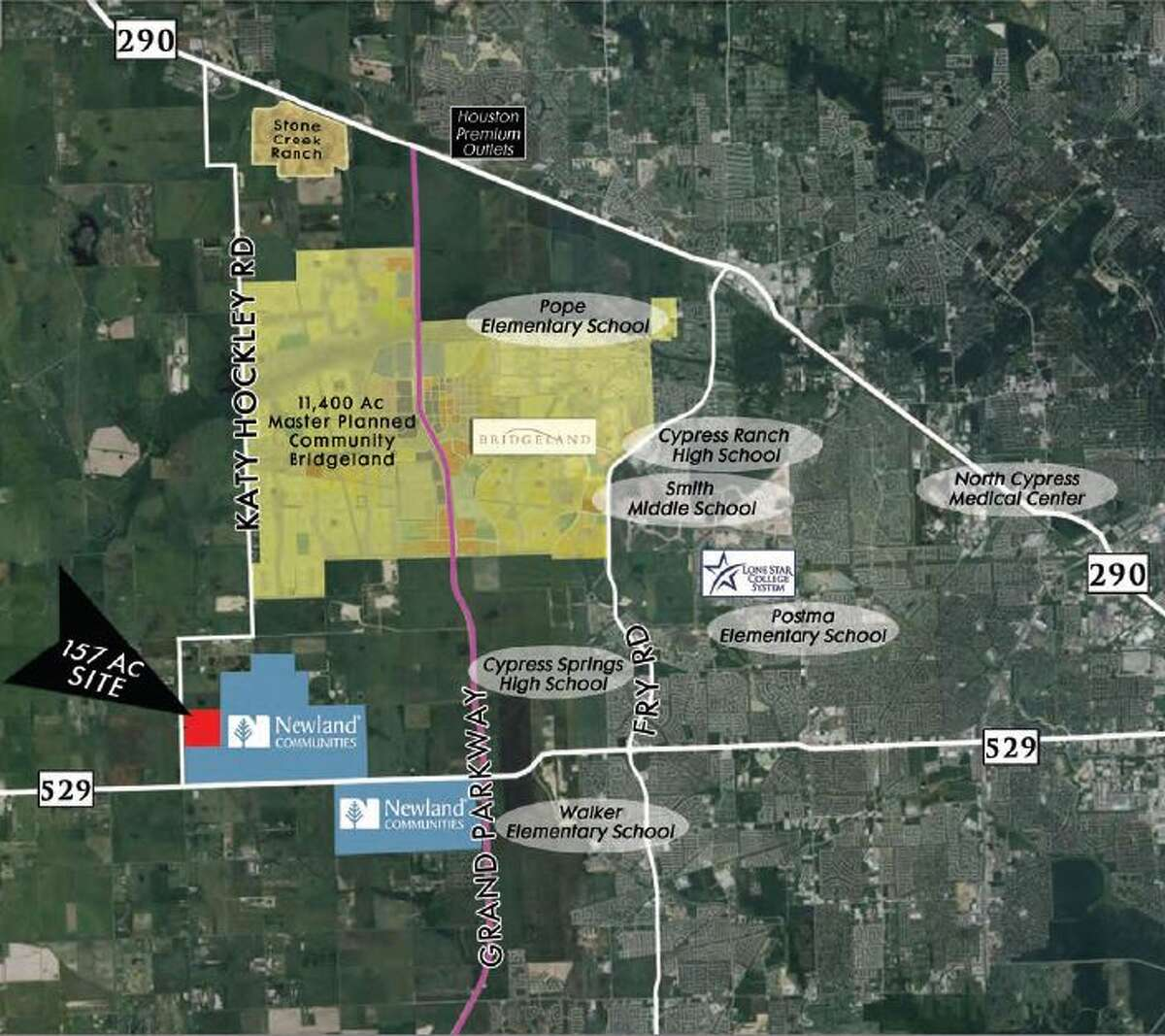 Rockspring Capital, a privately-owned real estate investment firm based in Houston, has acquired a 157-acre site off of Katy Hockley road, just north of FM 529 in the Katy area. The firm is expected to develop homes there; the land is within Katy Independent School District boundaries. Jim McAlister IV, president and CEO of Rockspring Capital, said in an announcement.