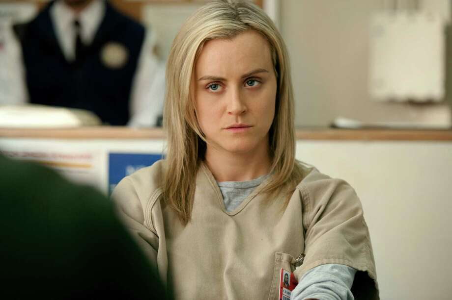 "Piper ChapmanCrime: Criminal ConspiracyBack story: The main character in ""Orange is the New Black,"" Piper was your average East Coast, blond, pseudo-hippy who was living a charmed life with her boyfriend Larry Bloom. That is, until her past caught up with her. Ten years prior, Piper and her drug-running girlfriend, Alex, smuggled narcotics into Europe. Alex eventually gets nabbed by the authorities and gives up Piper's name. Days before she is to report to prison, Larry proposes. And here we are.  Photo: JoJo Whilden, HONS / Netflix"