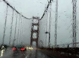 It's a rainy commute on the Golden Gate Bridge coming from Larkspur.