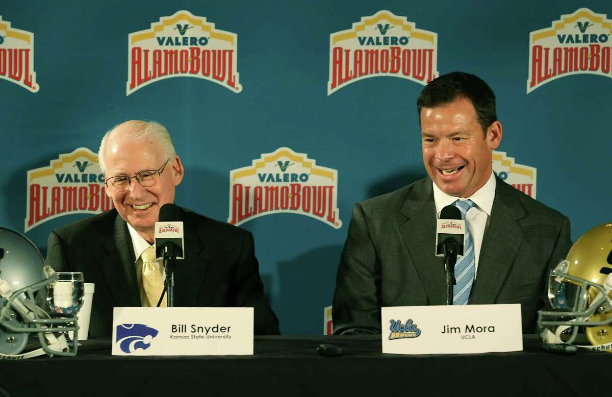 10.Top-ranked teams This is the first Alamo Bowl matchup between teams ranked in the top 15 nationally. Kansas State comes in ranked #11 and UCLA is #14. Photo: Kansas State Coach Bill Snyder (left) and UCLA Coach Jim Mora address the media during a press conference at The Club at Sonterra on Thursday. The two teams will face each other in the 2015 Valero Alamo Bowl on Jan. 2.