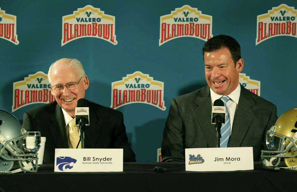 10. Top-ranked teams This is the first Alamo Bowl matchup between teams ranked in the top 15 nationally. Kansas State comes in ranked #11 and UCLA is #14. Photo: Kansas State Coach Bill Snyder (left) and UCLA Coach Jim Mora address the media during a press conference at The Club at Sonterra on Thursday. The two teams will face each other in the 2015 Valero Alamo Bowl on Jan. 2.