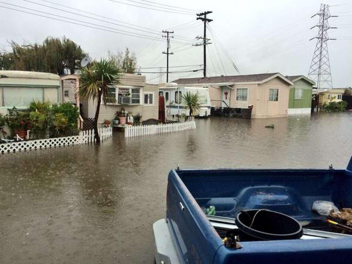 A major rainstorm on Dec. 11, 2014 flooded a Redwood City mobile home park.