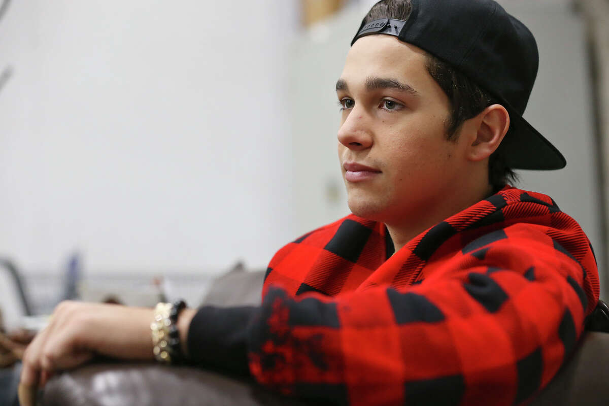 Austin Mahone answers questions during an interview Thursday Dec. 11, 2014 at Sam's Club.