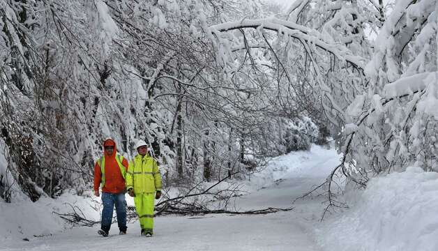 Workers from the Asplundh Tree Company check low hanging branches for their proximity to power lines Thursday afternoon Dec. 11, 2014, on Turnbull Road in Duanesburg, N.Y. If an obstruction was found the workers would trim the branches back away from the power lines to avoid snow load damage.   (Skip Dickstein/Times Union) Photo: SKIP DICKSTEIN