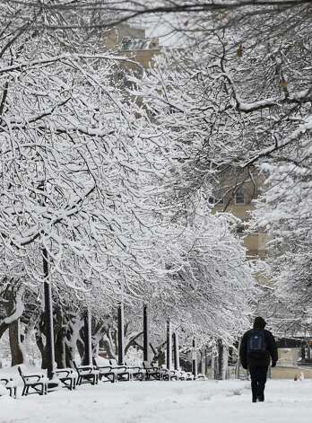 A pedestrian walks through a winter wonderland in Washington Park Thursday morning Dec. 11, 2014 in Albany, N.Y.    (Skip Dickstein/Times Union) Photo: SKIP DICKSTEIN