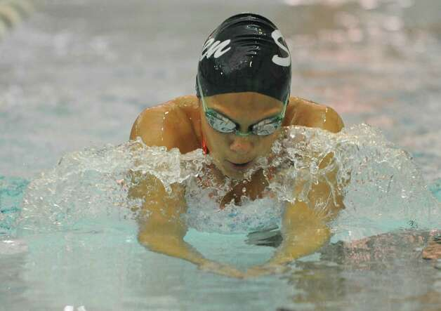 Shenendehowa swimmer Julia Samson works on her breast stroke during practice on Monday, Aug. 26, 2013 in Clifton Park, N.Y. (Lori Van Buren / Times Union) Photo: Lori Van Buren / 00023637A