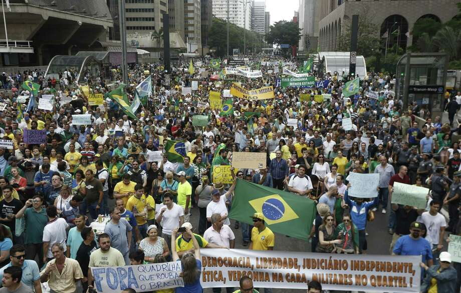 Brazilians demonstrate against government and corporate corruption last month in Sao Paulo.   Photo: MIGUEL SCHINCARIOL, Stringer / AFP