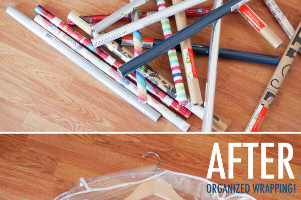 Garment Bag Wrapping paper tends to form precarious piles that inevitably topple when you go to grab that lone birthday pattern from the bottom. Storing gift wrap vertically means you can hide it in skinny corner or closet, and a garment bag keeps everything neatly corralled. See more at The Chic Home » 19 Inspiring Celebrity Hair Transformations10 Jolly Ways to Style a Christmas MantelThe Secret to Losing Weight Without Even Trying70 Master Bedroom Decorating Ideas7 Foods You Should Be Cleaning With10 Genius Ways to Decorate with Wrapping Paper