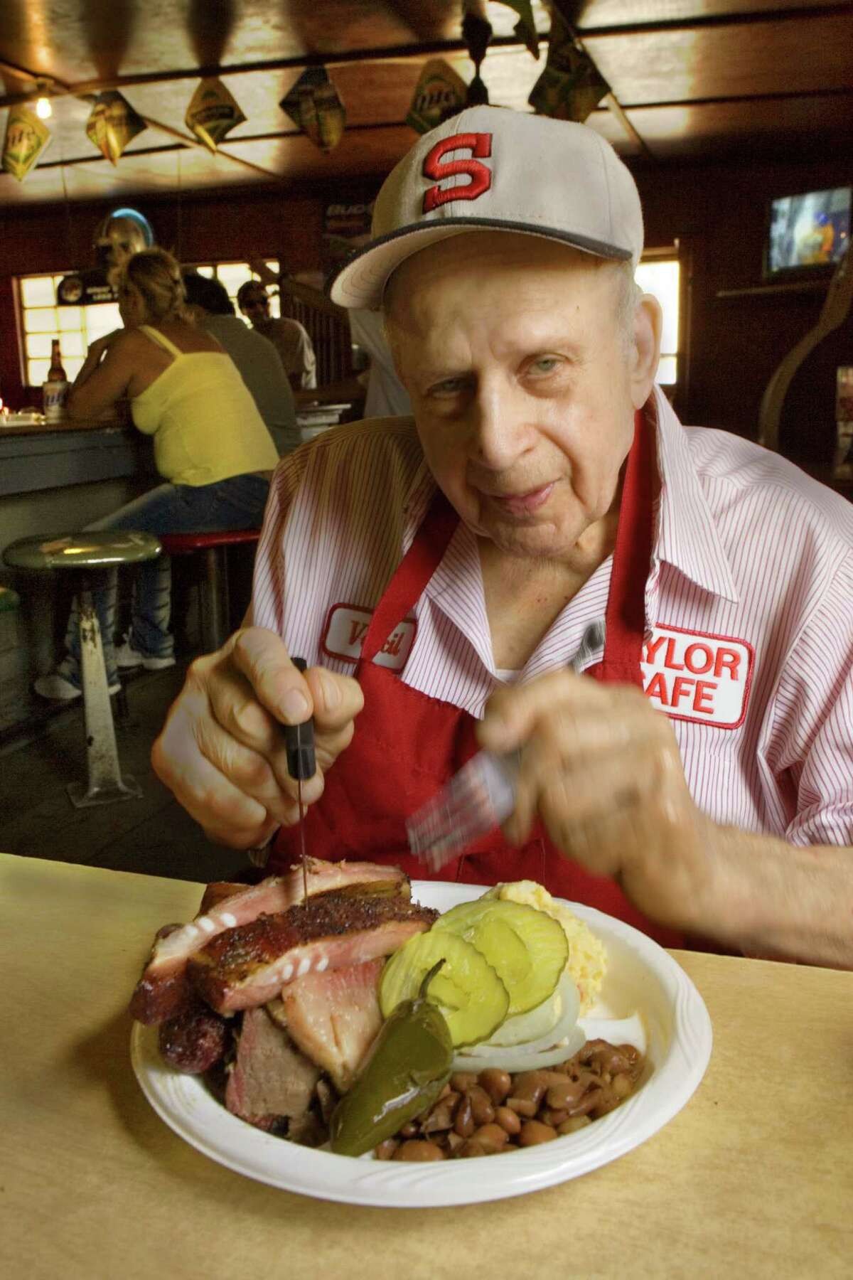 Vencil Mares, owner of Taylor Café, opened his barbecue