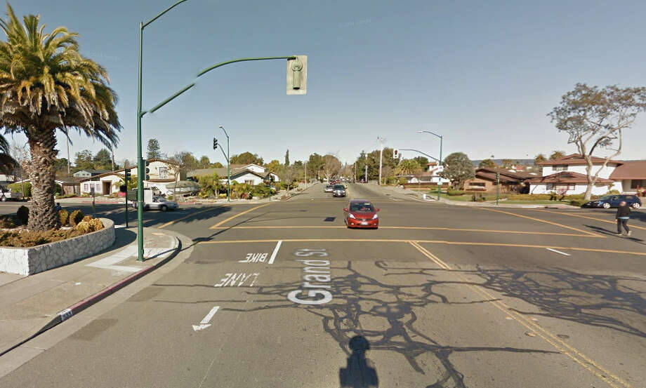 A man was struck by an AC Transit bus at the intersection of Grand Street and Otis Drive in Alameda on Thursday. Photo: Google Maps